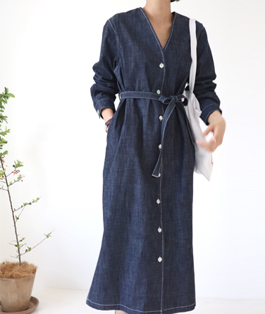 클라빈 데님 드레스 (2col)